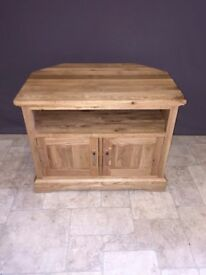 Solid Oak Wood Corner TV 2 Door Cabinet Stand Unit Wooden Furniture