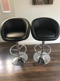 2 Black Breakfast Table Chairs