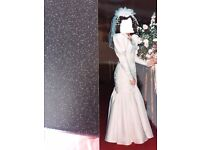 Beautiful Ivory Wedding Dress and Swaroski Crystal and Pearl headdress with short veil. Stunning