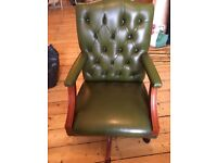 Traditional Chesterfield real leather office armchair