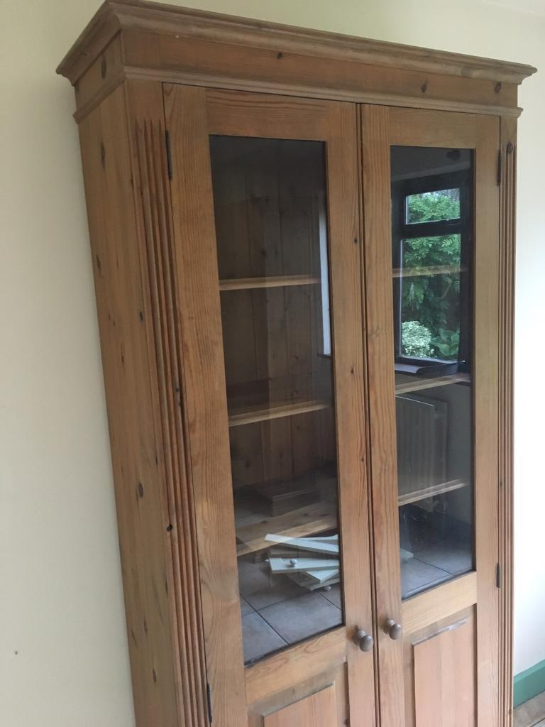 Matching pair of solid wood display cabinets