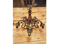 Brass and Wood Chandelier Ceiling Light