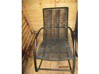 Black garden rocking chair.