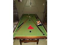 Snooker / pool table 6 feet x 3 feet complete with cues, balls & scoreboard