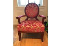Immaculate wood framed upholstered armchair