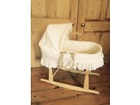 Baby's Rocking Bassinet Moses Basket with Cream Broidery Anglaise