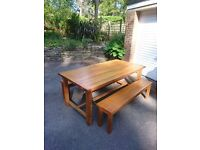 Laura Ashley Refectory Table in Oak with two Benches
