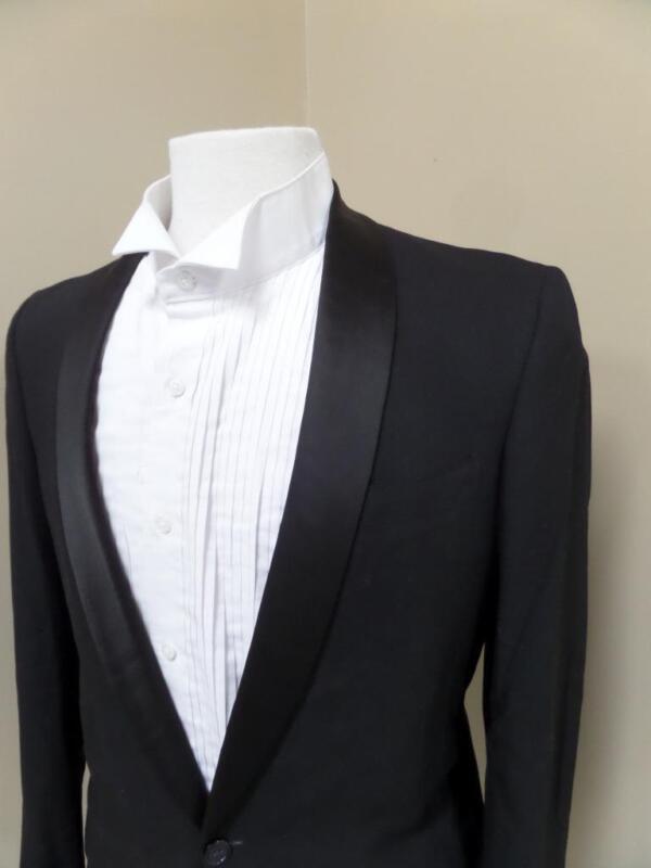 vtg 1950s Black TUXEDO Shawl Lapel 2PC SUIT Wool 38R 30x30