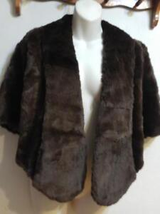 Womens BROWN BEAVER Cape Vintage Made by Hand Mint OS Retro Supersoft Sheared Beaver Real Fur