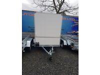 BRAND NEW MODEL BOX TRAILER 8.2FTx5FTx6FT UNBRAKED WITH BARN DOORS 750kg