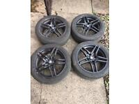 4 zenith black alloy wheels 4x114.3 with tyres
