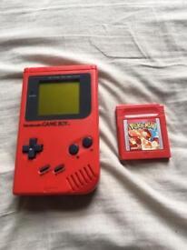 Red Nintendo Gameboy + Pokemon Red