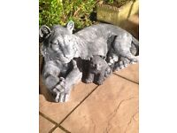Beautiful solid tiger and lion statue with baby cubs