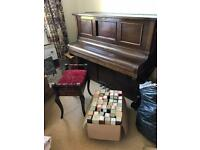FREE Steck pianola piano with 47 scrolls and spare gas/air canister including stool