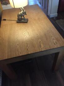 Solid oak. Extending dining table. Harvey's