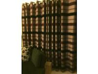 Black and Purple lined curtains