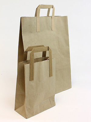 250 x Brown Paper Carrier Bags 10x15x12 NEXT DAY