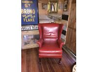 A VINTAGE/ANTIQUE MID-CENTURY RED VINYL WINGBACK ARMCHAIR NICE PRE-LOVED CONDITION FREE DELIVERY