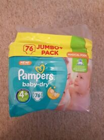 Pampers 76 pack size 4+