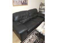 DFS BLACK ITALIAN LEATHER 3+2 SEATER SOFAS - MUST GO ASAP - CHEAP DELIVERY - £240