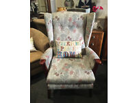 Nice Looking Vintage Retro Parker Knoll Style Fireside Wing Back Armchair