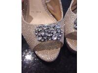 Gold shoes and handbag