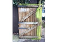 Wooden drive gate and hinges