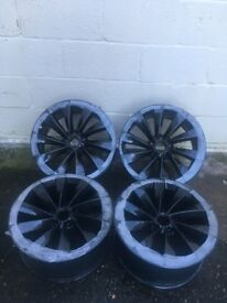 "GENUINE VW TURBINE SIROCCO ALLOY WHEELS 18"" REFURBISHED IN METALLIC BLACK"