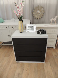 Vintage chest of four drawers - black chalkboard paint