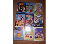 9 pre school DVDs including Peppa Pig and other pre school favourites