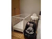 Joie carseat, Ikea white cot with vyssa mattress & high chair - like new