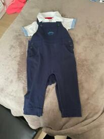 Baby boys Jasper Conran dungarees set with white vest