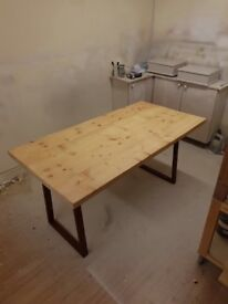 """Industrial style dining table with metal legs 5ft x 2ft 6"""""""