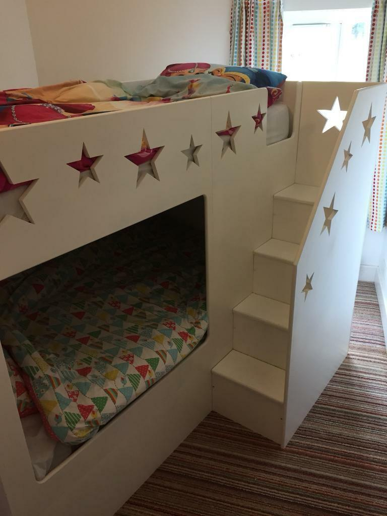 Handmade Children S Bunk Beds With Stairs And Lots Of Storage In
