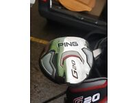Ping g10 irons 4-sw also g20 3 wood n fairway wood all in top condition+ Taylor made stand bag