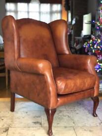 Laura Ashley Denbigh leather armchair vintage caramel wingback chair