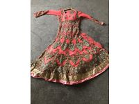 Ladies Indian Asian Bridal Wedding Nikha Walima Party Long Anarkali Heavy Dress