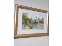 Framed, Glazed, Original watercolour of Wansbeck, Elliot footbridge, Oldgate, church, Morpeth