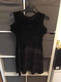 Girls cold shoulder velvet dress 10-11 years