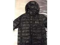 Armani black down jacket size large