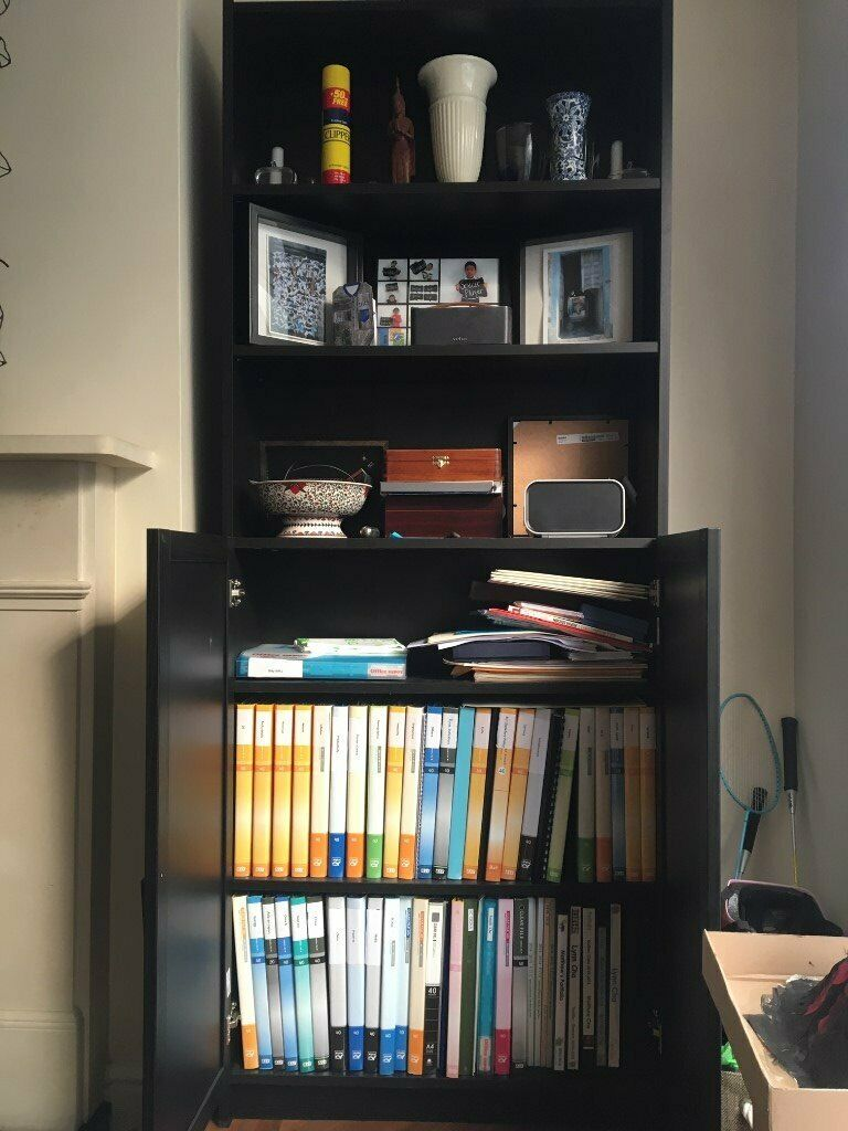 25 Billy Oxberg Bookcase With Doors Black Brown 80x30x202 Collection Only In Wimbledon London Gumtree