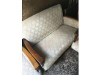1940's ISH TWO SEATER SOFA AND TWO CHAIRS