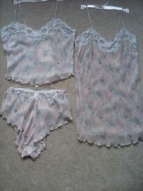 Cami top & French knickers with matching Chemise slip.