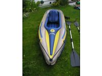 Inflatable 2 person Kayak,pump and oars.