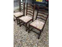 Three oak dining chairs (can deliver)
