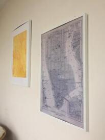 Three Large Prints - one Bath map, one original, one ikea New York