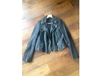 AllSaint Cargo Leather Jacket - women's size 8 in black