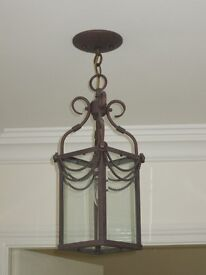 High quality matched pair of lantern style light fittings in antique bronze finish.