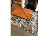 Oak Chevron Coffee Table with metal hairpin legs - New