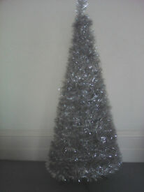 Collapsible Silver Tinsel Christmas Tree